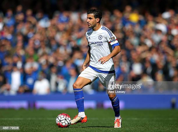 Cesc Fabregas of Chelsea during the Barclays Premier League match between Everton and Chelsea at Goodison Park on September 12 2015 in Liverpool...