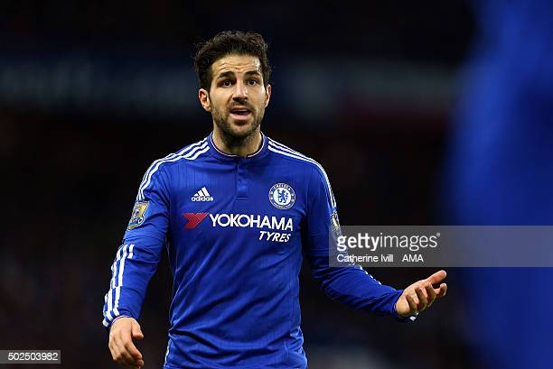 Cesc Fabregas of Chelsea during the Barclays Premier League match between Chelsea and Watford at Stamford Bridge on December 26 2015 in London England
