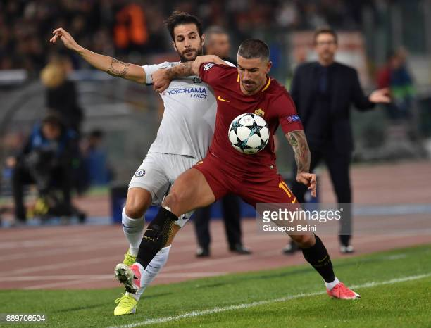 Cesc Fabregas of Chelsea FC and Aleksandar Kolarov of AS Roma in action during the UEFA Champions League group C match between AS Roma and Chelsea FC...