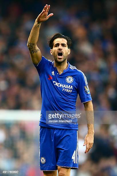 Cesc Fabregas of Chelsea gestures during the Barclays Premier League match between Chelsea and Southampton at Stamford Bridge on October 3 2015 in...
