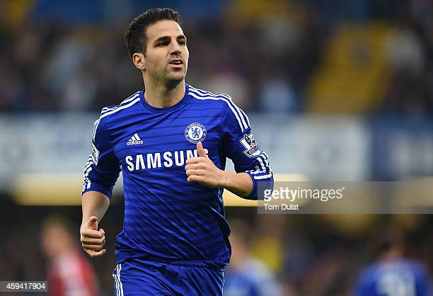 Cesc Fabregas of Chelsea in action during the Barclays Premier League match between Chelsea and West Bromwich Albion at Stamford Bridge on November...