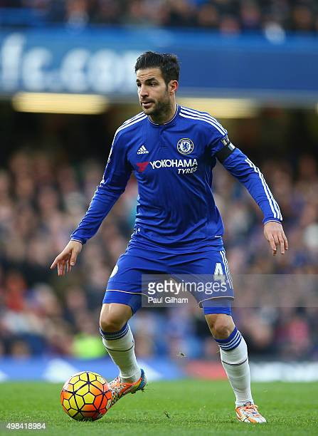 Cesc Fabregas of Chelsea in action during the Barclays Premier League match between Chelsea and Norwich City at Stamford Bridge on November 21 2015...