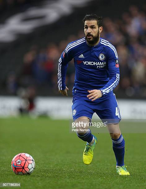 Cesc Fabregas of Chelsea in action during The Emirates FA Cup Fourth Round match between Milton Keynes Dons and Chelsea at Stadium mk on January 31...