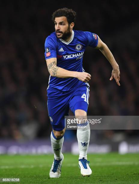 Cesc Fabregas of Chelsea in action during The Emirates FA Cup QuarterFinal match between Chelsea and Manchester United at Stamford Bridge on March 13...