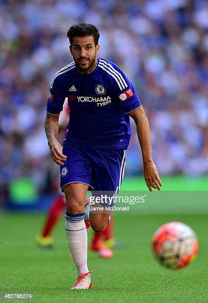 Cesc Fabregas of Chelsea in action during the FA Community Shield match between Chelsea and Arsenal at Wembley Stadium on August 2 2015 in London...