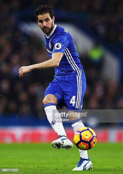 Cesc Fabregas of Chelsea in action during the Premier League match between Chelsea and Stoke City at Stamford Bridge on December 31 2016 in London...