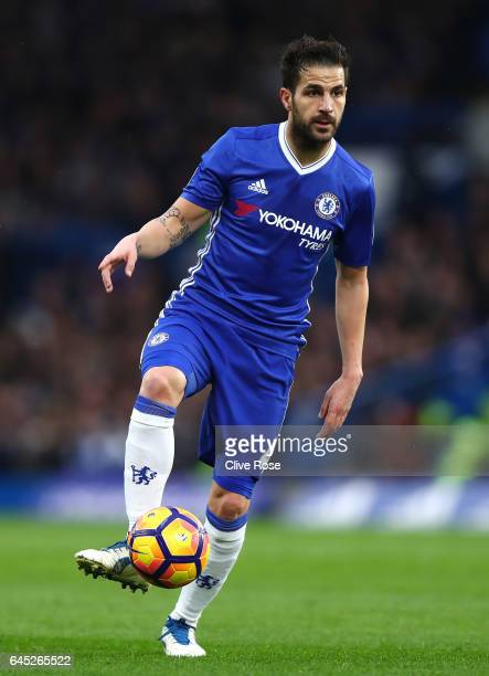 Cesc Fabregas of Chelsea in action during the Premier League match between Chelsea and Swansea City at Stamford Bridge on February 25 2017 in London...
