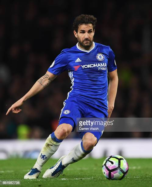 Cesc Fabregas of Chelsea in action during the Premier League match between Chelsea and Manchester City at Stamford Bridge on April 5 2017 in London...