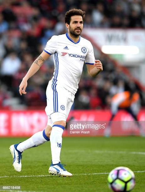 Cesc Fabregas of Chelsea in action during the Premier League match between AFC Bournemouth and Chelsea at Vitality Stadium on April 8 2017 in...