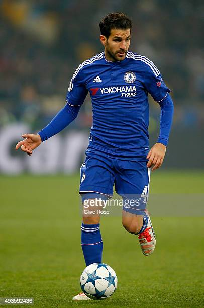 Cesc Fabregas of Chelsea in action during the UEFA Champions League Group G match between FC Dynamo Kyiv and Chelsea at the Olympic Stadium on...
