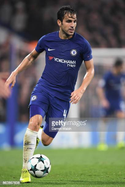 Cesc Fabregas of Chelsea in action during the UEFA Champions League group C match between Chelsea FC and AS Roma at Stamford Bridge on October 18...