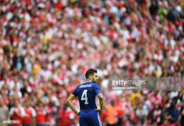Cesc Fabregas of Chelsea looks on during the Emirates FA Cup Final between Arsenal and Chelsea at Wembley Stadium on May 27 2017 in London England