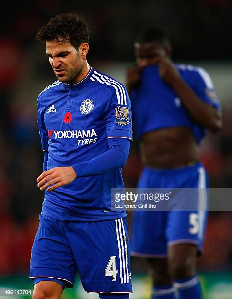 Cesc Fabregas of Chelsea reacts after his team's 01 defeat in the Barclays Premier League match between Stoke City and Chelsea at Britannia Stadium...