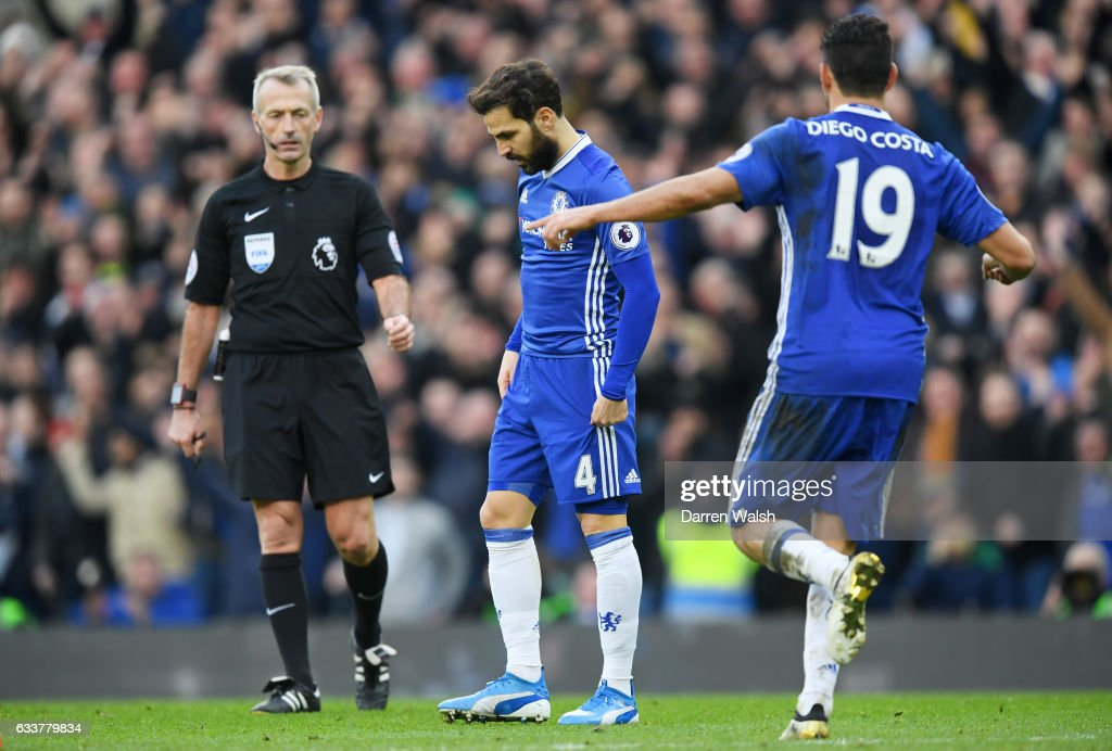 Cesc Fabregas of Chelsea reacts after scoring his team's third goal during the Premier League match between Chelsea and Arsenal at Stamford Bridge on February 4, 2017 in London, England.