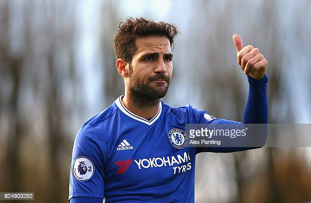 Cesc Fabregas of Chelsea reacts during the Premier League 2 match between Chelsea and Southampton at Chelsea Training Ground on November 21 2016 in...
