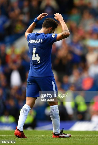 Cesc Fabregas of Chelsea reacts to being sent off during the Premier League match between Chelsea and Burnley at Stamford Bridge on August 12 2017 in...