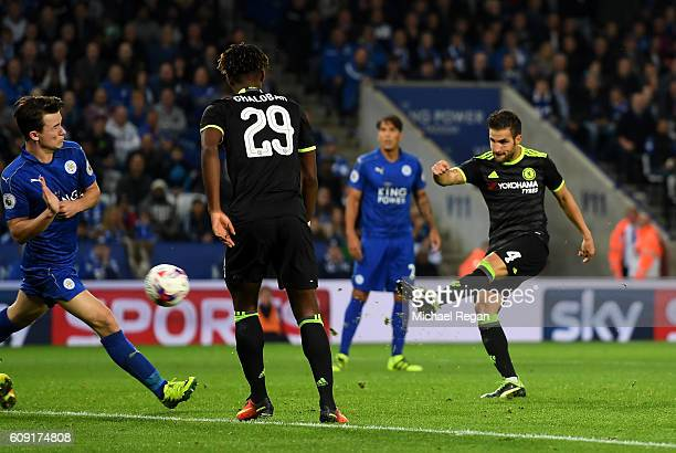 Cesc Fabregas of Chelsea scores his sides fourth goal during the EFL Cup Third Round match between Leicester City and Chelsea at The King Power...