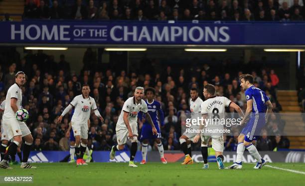Cesc Fabregas of Chelsea scores his sides fourth goal during the Premier League match between Chelsea and Watford at Stamford Bridge on May 15 2017...
