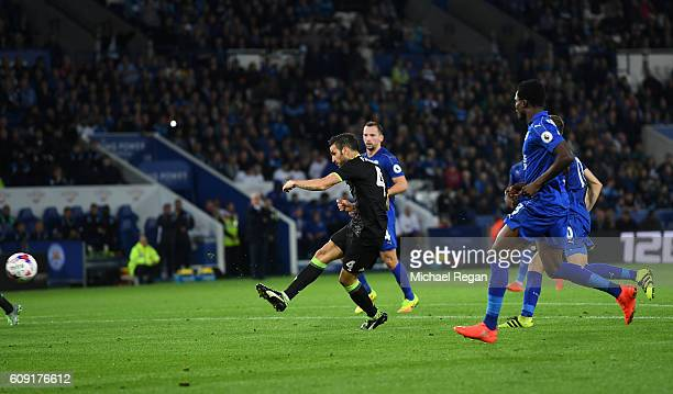Cesc Fabregas of Chelsea scores his sides third goal during the EFL Cup Third Round match between Leicester City and Chelsea at The King Power...
