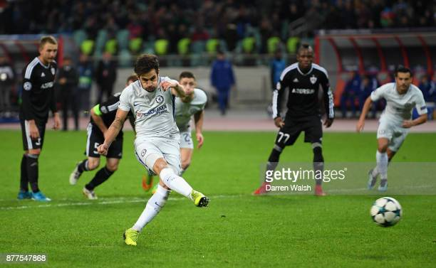 Cesc Fabregas of Chelsea scores his sides third goal from the penalty spot during the UEFA Champions League group C match between Qarabag FK and...