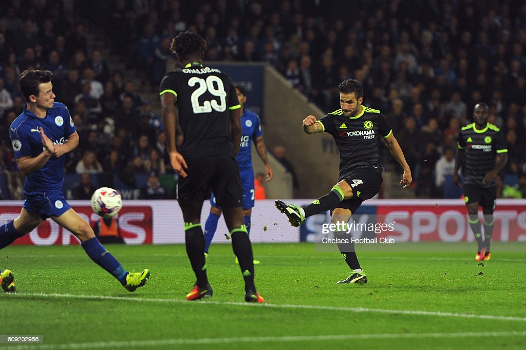 Cesc Fabregas of Chelsea scores his team's fourth goal during the EFL Cup Third Round match between Leicester City and Chelsea at The King Power Stadium on September 20, 2016 in Leicester, England.