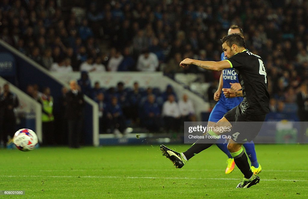 Cesc Fabregas of Chelsea scores his team's third goal during the EFL Cup Third Round match between Leicester City and Chelsea at The King Power Stadium on September 20, 2016 in Leicester, England.