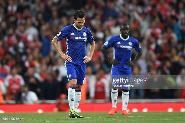 Cesc Fabregas of Chelsea show dejection after Arsenal score during the Premier League match between Arsenal and Chelsea at the Emirates Stadium on...