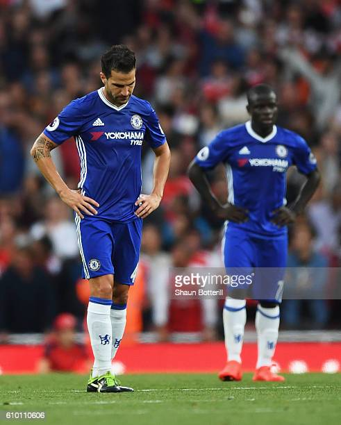 Cesc Fabregas of Chelsea shows dejection after Arsenal score during the Premier League match between Arsenal and Chelsea at the Emirates Stadium on...