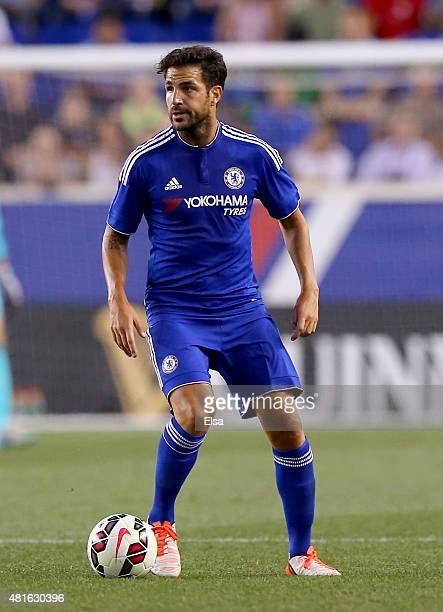 Cesc Fabregas of Chelsea takes the ball in the first half against the New York Red Bulls during the International Champions Cup at Red Bull Arena on...