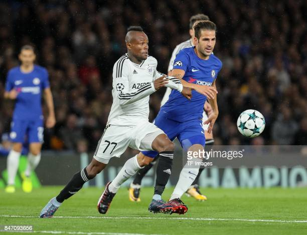 Cesc Fabregas of Chelsea und Donald Guerrier of Qarabag battle for the ball during the UEFA Champions League group C match between Chelsea FC and...