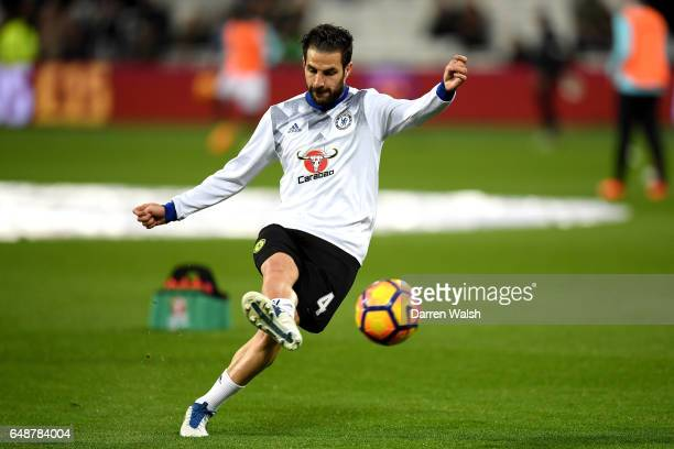 Cesc Fabregas of Chelsea warms up prior to the Premier League match between West Ham United and Chelsea at London Stadium on March 6 2017 in...
