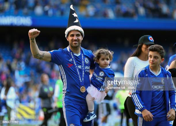 Cesc Fabregas of Chelsea wearing a magic hat during the Premier League match between Chelsea and Sunderland at Stamford Bridge on May 21 2017 in...