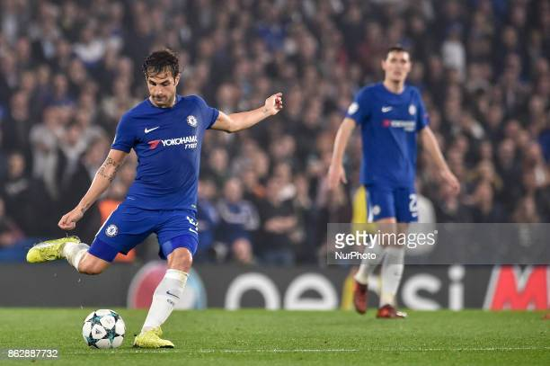Cesc Fabregas of Chelseaduring the UEFA Champions League match between Chelsea v AS Roma at Stamford Bridge Stadium London United Kingdom on 18...