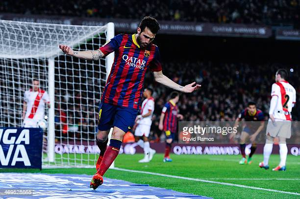 Cesc Fabregas of FC Barcelona celebrates after his teammate Pedro Rodriguez scored his team's fourth goal during the La Liga match between FC...