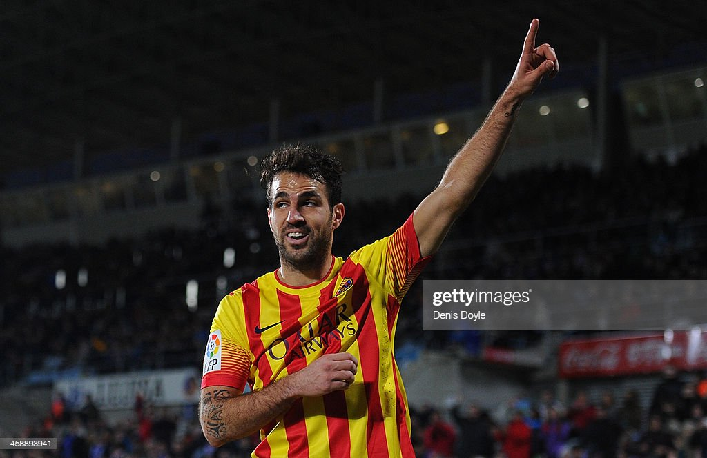 Cesc Fabregas of FC Barcelona celebrates after scoring Barcelona's 4th goal during the La Liga match between Getafe CF and FC Barcelona at Coliseum Alfonso Perez on December 22, 2013 in Getafe, Spain.