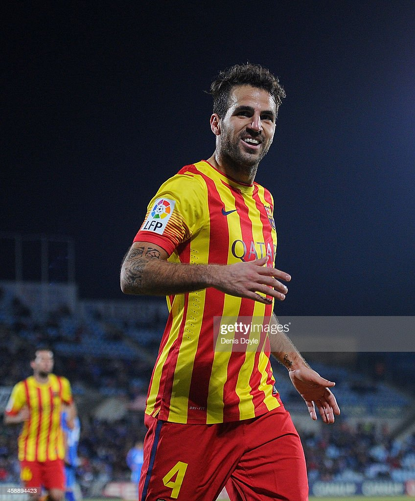 Cesc Fabregas of FC Barcelona celebrates after scoring Barcelona's 5th goal during the La Liga match between Getafe CF and FC Barcelona at Coliseum Alfonso Perez on December 22, 2013 in Getafe, Spain.