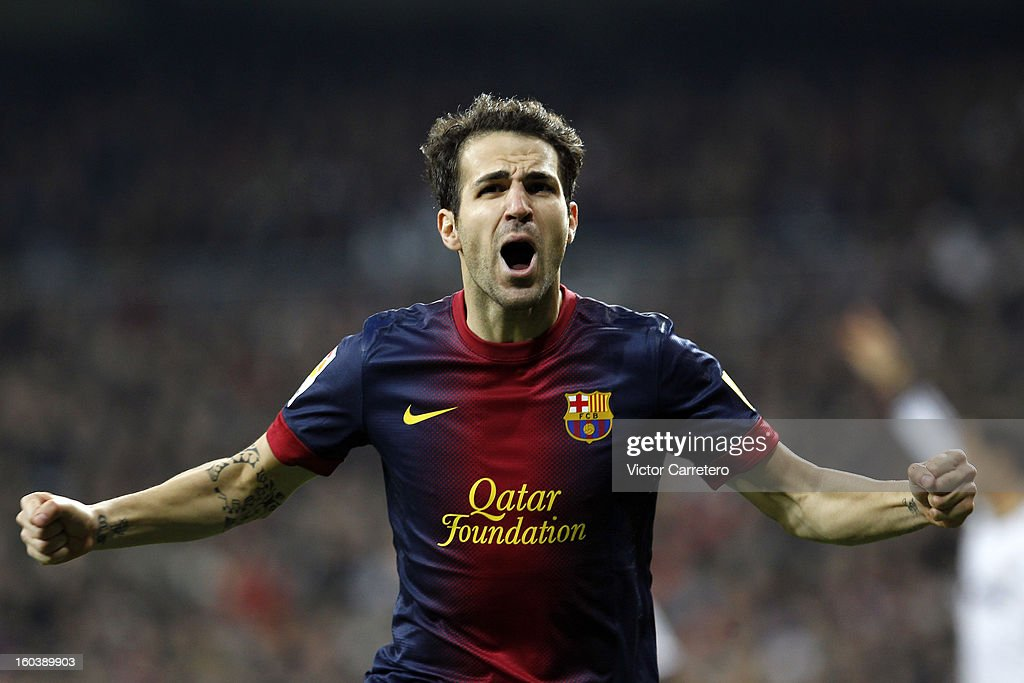 Cesc Fabregas of FC Barcelona celebrates after scoring during the Copa del Rey Semi-Final first leg match between Real Madrid CF and FC Barcelona at Estadio Santiago Bernabeu on January 30, 2013 in Madrid, Spain.