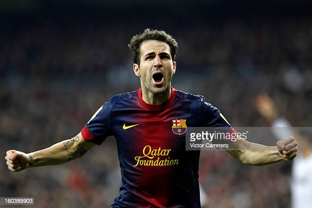 Cesc Fabregas of FC Barcelona celebrates after scoring during the Copa del Rey SemiFinal first leg match between Real Madrid CF and FC Barcelona at...