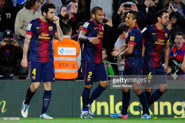 Cesc Fabregas of FC Barcelona celebrates after scoring the winning goal during the La Liga match between FC Barcelona and Levante UD at Camp Nou on...