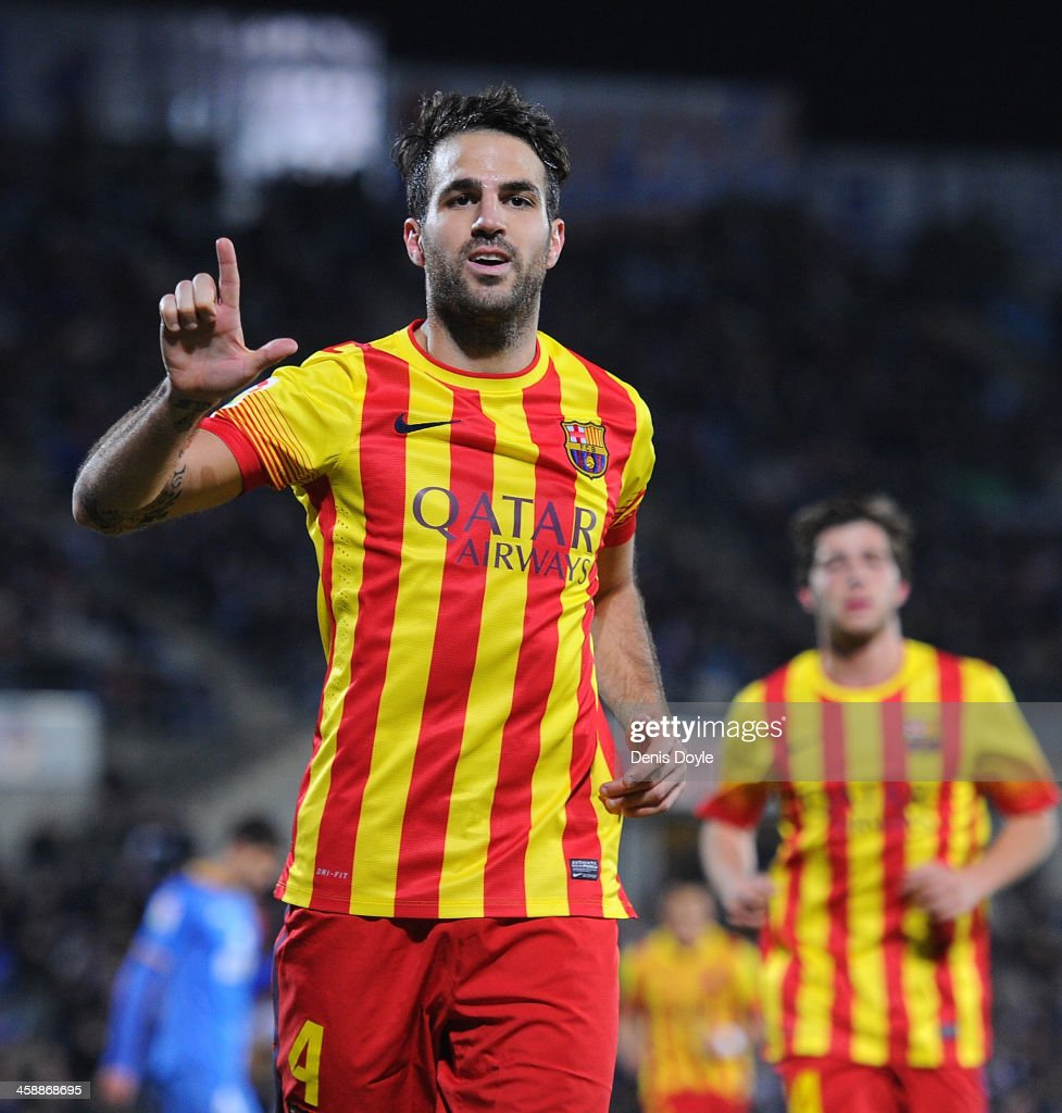 Cesc Fabregas of FC Barcelona celebrates after scoring their 5th goal during the La Liga match between Getafe CF and FC Barcelona at Coliseum Alfonso...