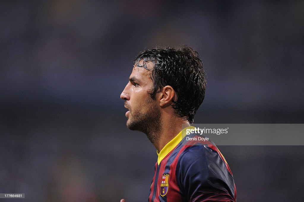 Cesc Fabregas of FC Barcelona looks on during the La Liga match between Malaga CF and FC Barcelona at La Rosaleda Stadium on August 25, 2013 in Malaga, Spain.