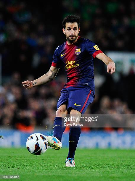 Cesc Fabregas of FC Barcelona passes the ball during the La Liga match between FC Barcelona and RCD Mallorca at Camp Nou on April 6 2013 in Barcelona...