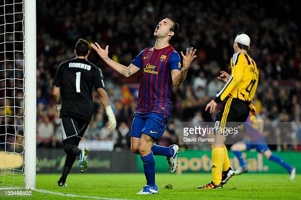 Cesc Fabregas of FC Barcelona reacts after missing a chance to score during the la Liga Match between FC Barcelona and Real Zaragoza at Camp Nou on...