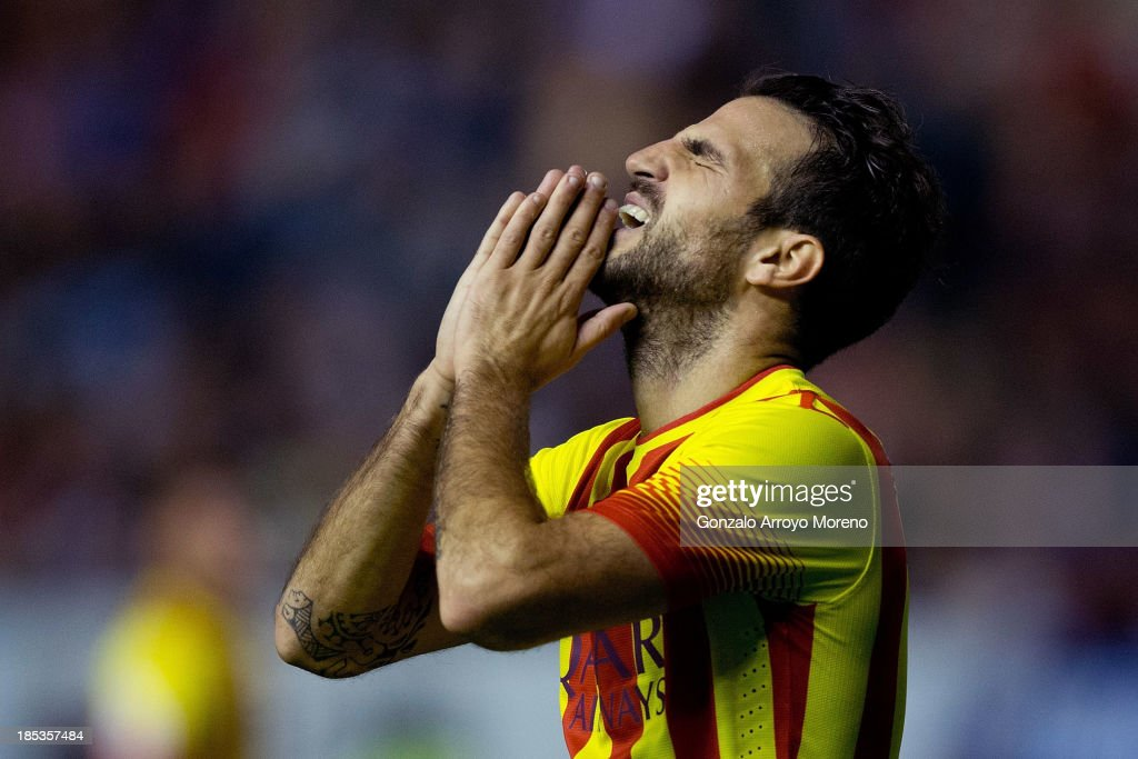 Cesc Fabregas of FC Barcelona reacts as he failed to score during the La Liga match between CA Osasuna and FC Barcelona at El Sadar stadium on October 19, 2013 in Pamplona, Spain.