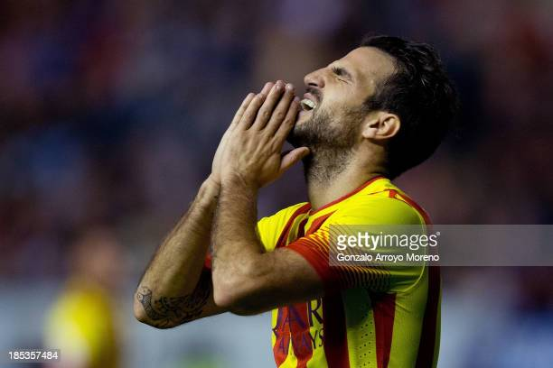 Cesc Fabregas of FC Barcelona reacts as he failed to score during the La Liga match between CA Osasuna and FC Barcelona at El Sadar stadium on...