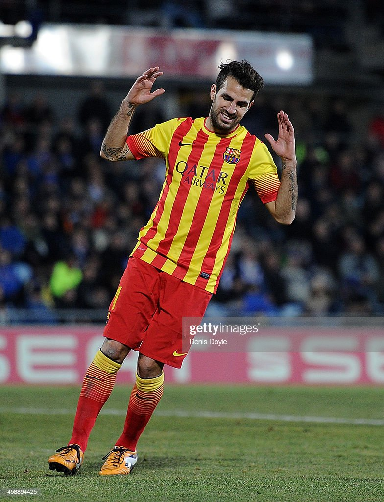 Cesc Fabregas of FC Barcelona reacts during the La Liga match between Getafe CF and FC Barcelona at Coliseum Alfonso Perez on December 22, 2013 in Getafe, Spain.