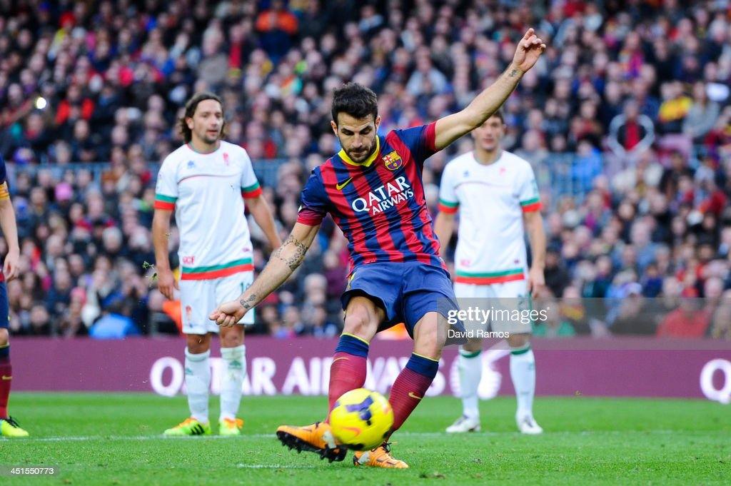 Cesc Fabregas of FC Barcelona scores his team's second goal from the penalty spot during the La Liga match between FC Barcelona and Granda CF at Camp Nou on November 23, 2013 in Barcelona, Spain.