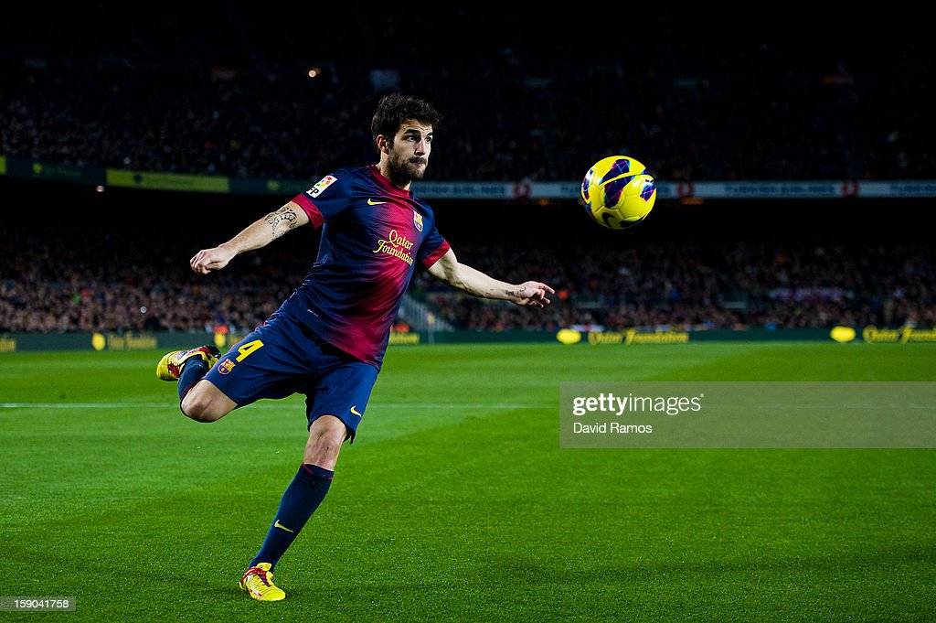 Cesc Fabregas of FC Barcelona shoots towards goal during the La Liga match between FC Barcelona and RCD Espanyol at Camp Nou on January 6, 2013 in Barcelona, Spain.