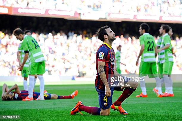 Cesc Fabregas of FC Barcelona shows his dejection during the La Liga match between FC Barcelona and Getafe CF at Nou Camp on May 3 2014 in Barcelona...