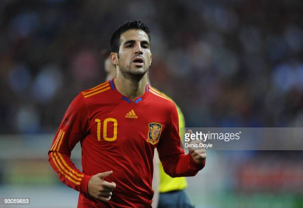 Cesc Fabregas of Spain goes to take acorner kick during the International friendly match between Argentina and Spain at the Vicente Calderon stadium...